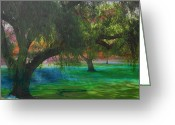 Landscape Posters Digital Art Greeting Cards - The park Greeting Card by Athala Carole Bruckner