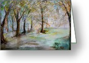 Award Greeting Cards - The Park Bench Greeting Card by Jack Diamond