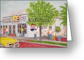 Mound Painting Greeting Cards - The Park Shoppe Greeting Card by Frank Hunter