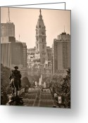 Philadelphia Greeting Cards - The Parkway in Sepia Greeting Card by Bill Cannon