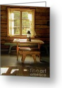 Log House Greeting Cards - The Parlour Greeting Card by Heiko Koehrer-Wagner