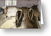 Floor Painting Greeting Cards - The Parquet Planers Greeting Card by Gustave Caillebotte