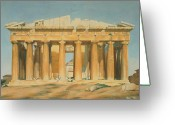 Watercolor On Paper Greeting Cards - The Parthenon Greeting Card by Louis Dupre