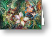 Elena Kotliarker Greeting Cards - The Passion of Green Greeting Card by Elena Kotliarker