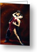 Dancers Greeting Cards - The Passion of Tango Greeting Card by Richard Young