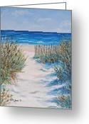 South Carolina Beach Painting Greeting Cards - The Pathway Greeting Card by Stanton Allaben