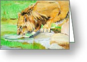 Lions Painting Greeting Cards - The Paws that Refreshes Greeting Card by Judy Kay