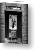 Phone Booth Greeting Cards - The payphone - black and white Greeting Card by Paul Ward