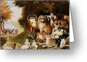 Isaiah Greeting Cards - The Peaceable Kingdom Greeting Card by Edward Hicks