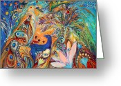 Elena Kotliarker Greeting Cards - The Peacocks and Blue Deer Greeting Card by Elena Kotliarker