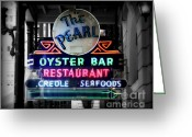 Neon Sign Greeting Cards - The Pearl Greeting Card by Perry Webster