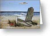 Summer Beach Ocean Greeting Cards - The Pelican Greeting Card by Elizabeth Robinette Tyndall