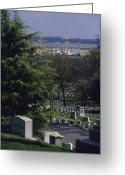 Graves And Tombs Greeting Cards - The Pentagon Looms Behind  Arlington Greeting Card by Raymond Gehman