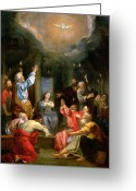 Holy Spirit Greeting Cards - The Pentecost Greeting Card by Louis Galloche