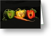 Yellow And Red Greeting Cards - The Pepper Trio Greeting Card by Carol Milisen