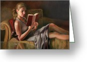 Woman Painting Greeting Cards - The Perfect Evening Greeting Card by Anna Bain