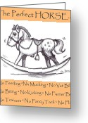 Feeding Drawings Greeting Cards - the Perfect Horse Greeting Card by George Pedro