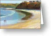 Waves Pastels Greeting Cards - The Perfect Wave is out There Greeting Card by Pamela Pretty