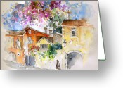 Travel Drawings Greeting Cards - The Perigord in France Greeting Card by Miki De Goodaboom