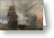 Ports Greeting Cards - The Phantom Ship Greeting Card by William Lionel Wyllie