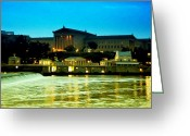 Schuylkill Greeting Cards - The Philadelphia Art Museum and Waterworks at Night Greeting Card by Bill Cannon
