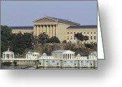 Philly Digital Art Greeting Cards - The Philly Art Museum and Waterworks Greeting Card by Bill Cannon
