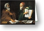 Pointing Painting Greeting Cards - The Philosophers Greeting Card by Master of the Judgment of Solomon