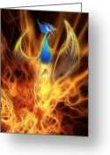 Firebird Greeting Cards - The Phoenix rises from the ashes Greeting Card by John Edwards