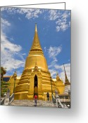 Mound Greeting Cards - The Phra Sri Ratana chedi Bangkok Thailand Greeting Card by Charuhas Images