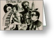 Man Drawings Greeting Cards - The Piano Man Greeting Card by Jason Kasper
