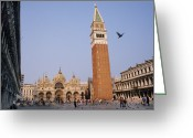 Large Clock Greeting Cards - The Piazza San Marco Is The Focal Point Greeting Card by O. Louis Mazzatenta