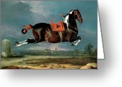 Leap Greeting Cards - The Piebald Horse Greeting Card by Johann Georg Hamilton