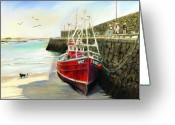West Pastels Greeting Cards - The Pier at Spiddal Galway Ireland Greeting Card by Irish Art