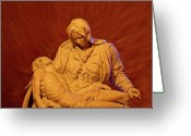 Anne Greeting Cards - The Pieta at Ste Anne De Beaupre Greeting Card by Al Bourassa