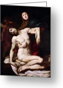 Jesus Painting Greeting Cards - The Pieta Greeting Card by Daniele Crespi