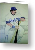 Baseball Drawings Greeting Cards - The Pinch hitter Greeting Card by Nigel Wynter