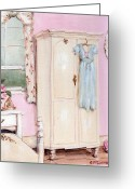 Chic Greeting Cards - The Pink Bedroom Greeting Card by Gail McCormack