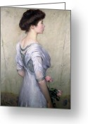 Holding Flower Greeting Cards - The Pink Rose Greeting Card by Lilla Cabot Perry