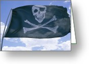 Piracy Greeting Cards - The Pirate Flag Known As The Jolly Greeting Card by Stephen St. John