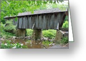 Tree-covered Greeting Cards - The Pisgah Covered Bridge Greeting Card by Suzanne Gaff