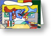 Cubist Greeting Cards - The Pizza Guy Greeting Card by Anthony Falbo