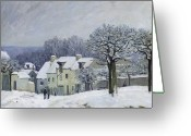Snow Scenes Greeting Cards - The Place du Chenil at Marly le Roi Greeting Card by Alfred Sisley