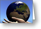 Fingertips Greeting Cards - The Planet Earth Is Held In Caring Greeting Card by Corey Ford