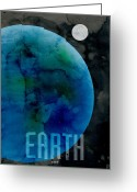 Stars Digital Art Greeting Cards - The Planet Earth Greeting Card by Michael Tompsett
