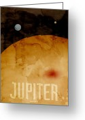 Stars Digital Art Greeting Cards - The Planet Jupiter Greeting Card by Michael Tompsett