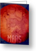 Planet Greeting Cards - The Planet Mars Greeting Card by Michael Tompsett