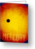 Stars Digital Art Greeting Cards - The Planet Mercury Greeting Card by Michael Tompsett