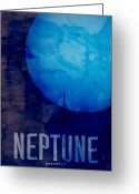 System Greeting Cards - The Planet Neptune Greeting Card by Michael Tompsett