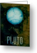 Planet Greeting Cards - The Planet Pluto Greeting Card by Michael Tompsett