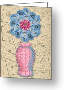 Formal Mixed Media Greeting Cards - The Platonic Ideal Vase Number Three Greeting Card by Yolanda Fundora